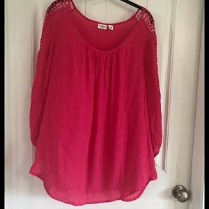 CATO HOT PINK SUMMER GAUZE FLOWY TOP/TUNIC.  T11